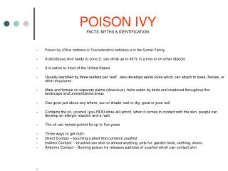 POISON IVY  FACTS, MYTHS & IDENTIFICATION