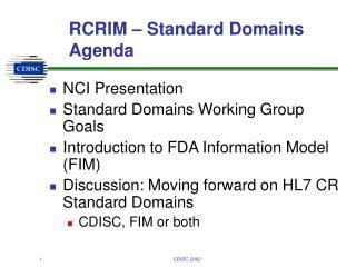 RCRIM – Standard Domains Agenda