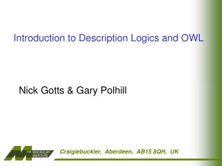 Introduction to Description Logics and OWL