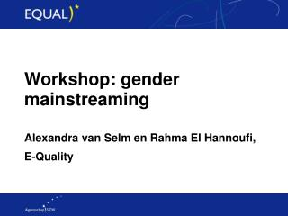 Workshop: gender mainstreaming  Alexandra van Selm en Rahma El Hannoufi, E-Quality