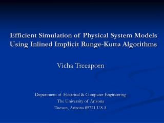 Efficient Simulation of Physical System Models Using Inlined Implicit Runge-Kutta Algorithms