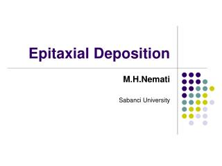 Epitaxial Deposition
