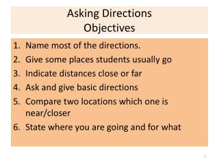 Asking Directions Objectives