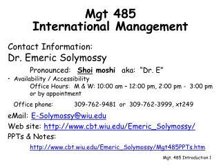 Mgt 485  International Management