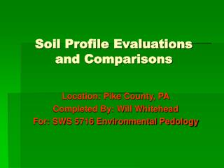 Soil Profile Evaluations and Comparisons