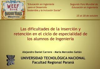 UNIVERSIDAD TECNOLÓGICA NACIONAL Facultad Regional  Paraná
