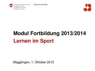 Modul Fortbildung 2013/2014 Lernen im Sport