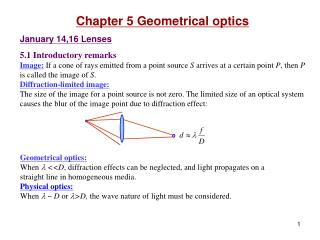 Chapter 5 Geometrical optics January 14,16 Lenses 5.1 Introductory remarks