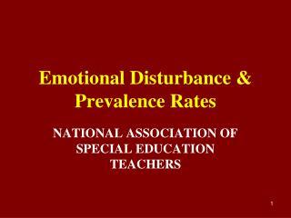 Emotional Disturbance & Prevalence Rates