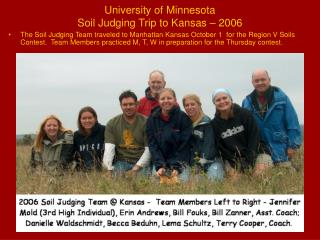 University of Minnesota Soil Judging Trip to Kansas – 2006