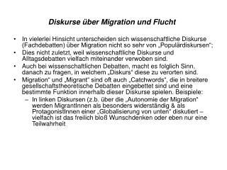 Diskurse über Migration  und Flucht
