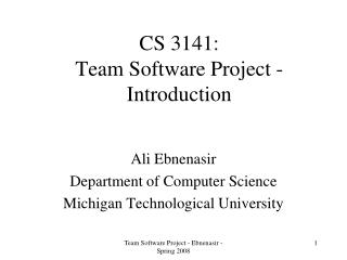 CS 3141: Team Software Project - Introduction