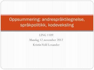 Oppsummering: andrespråktilegnelse, språkpolitikk, kodeveksling