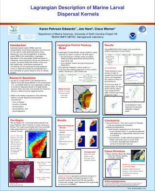 Lagrangian Description of Marine Larval  Dispersal Kernels
