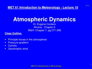 MET 61 Introduction to Meteorology - Lecture 10