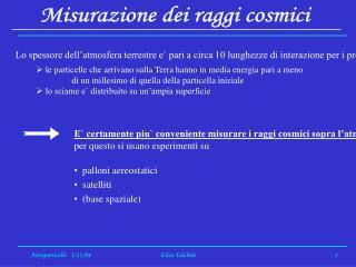 Misurazione dei raggi cosmici