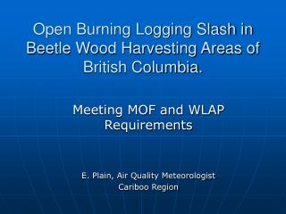 Open Burning Logging Slash in Beetle Wood Harvesting Areas of British Columbia.