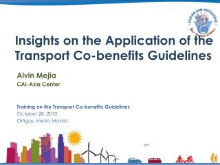 Insights on the Application of the Transport Co-benefits Guidelines