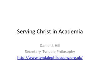 Serving Christ in Academia