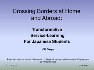 Crossing Borders at Home and Abroad: