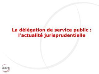 La d l gation de service public : l actualit  jurisprudentielle