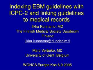 Indexing EBM guidelines with ICPC-2 and linking guidelines to medical records