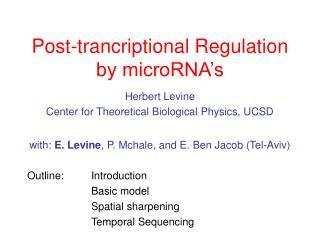 Post-trancriptional Regulation by microRNA's