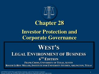 Chapter 28 Investor Protection and  Corporate Governance