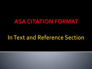 In Text and Reference Section