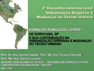 2º Encontro Internacional  Urbanização Dispersa e  Mudanças no Tecido Urbano