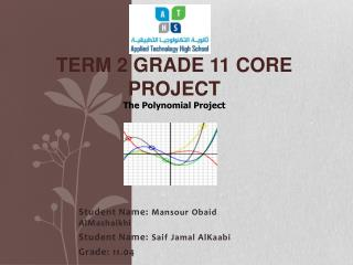 Term 2 Grade 11 Core Project The Polynomial Project