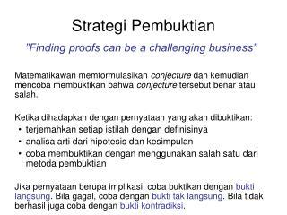 Strategi Pembuktian