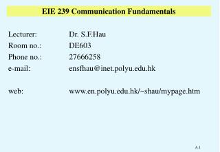 EIE 239 Communication Fundamentals