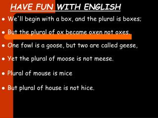 HAVE FUN WITH ENGLISH