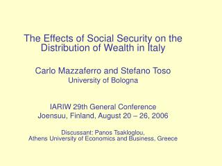 The Effects of Social Security on the Distribution of Wealth in Italy