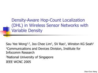 Density-Aware Hop-Count Localization (DHL) in Wireless Sensor Networks with Variable Density