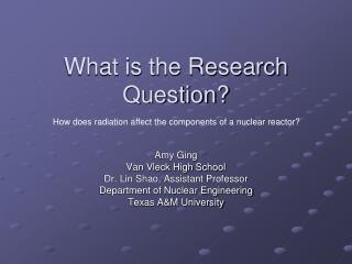 What is the Research Question?