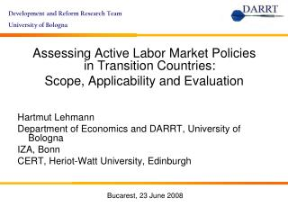 Assessing Active Labor Market Policies in Transition Countries: