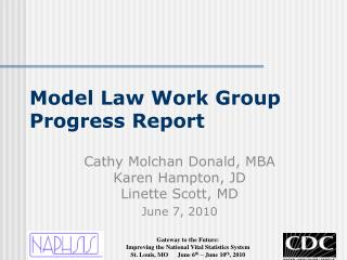 Model Law Work Group Progress Report