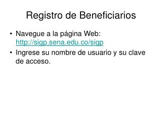 Registro de Beneficiarios