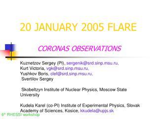 20 JANUARY 2005 FLARE