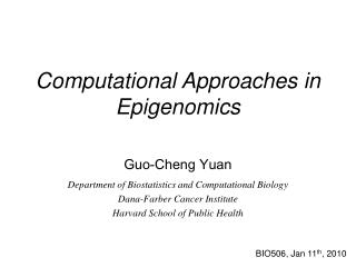 Computational Approaches in Epigenomics