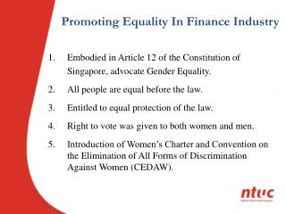 Promoting Equality In Finance Industry