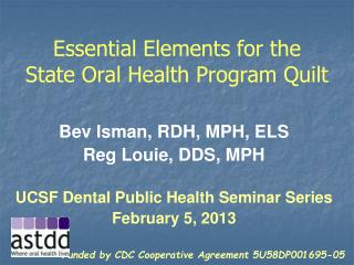 Essential Elements for the  State Oral Health Program Quilt
