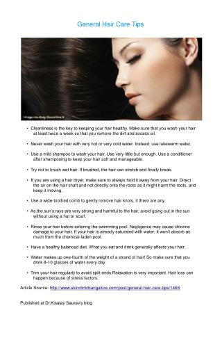 General Hair Care Tips - Dr. Kisalay Saurav