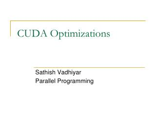 CUDA Optimizations