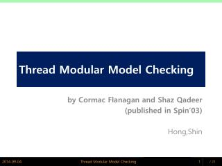Thread Modular Model Checking