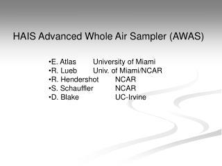 HAIS Advanced Whole Air Sampler (AWAS)