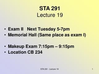 STA 291 Lecture 19