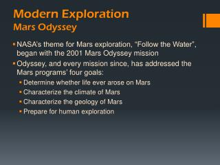 Modern Exploration Mars Odyssey